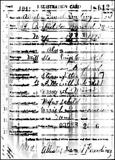 WWI Draft Registration for Allister Rawding -