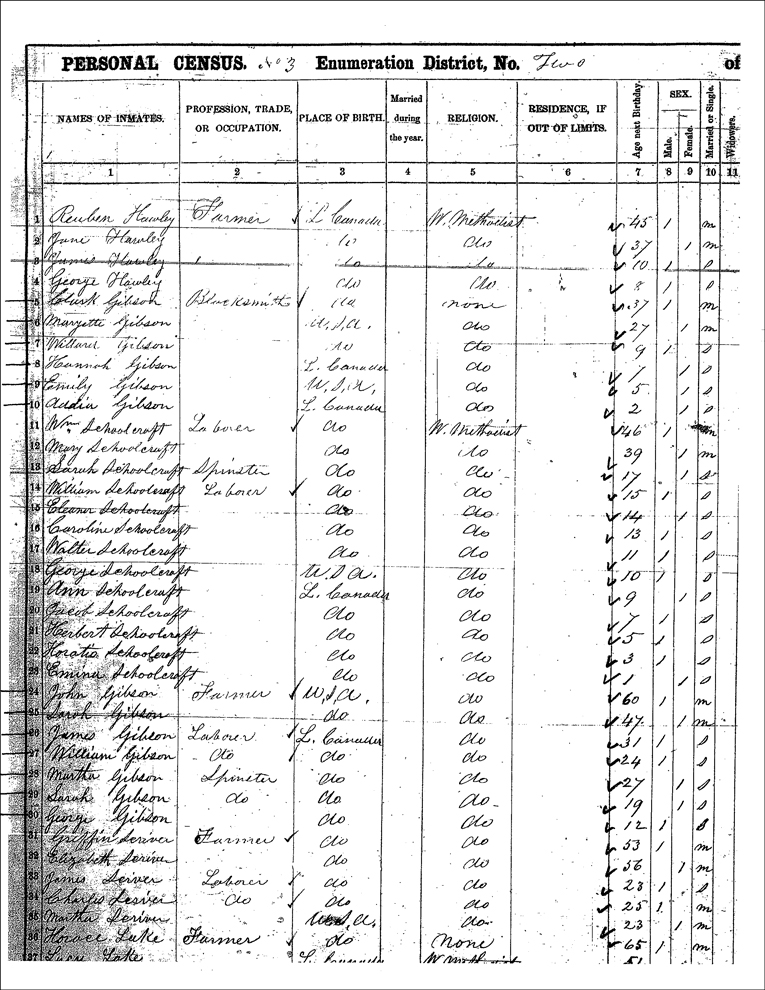 1861 Census Record for the John Gibson and Clark Gibson Households