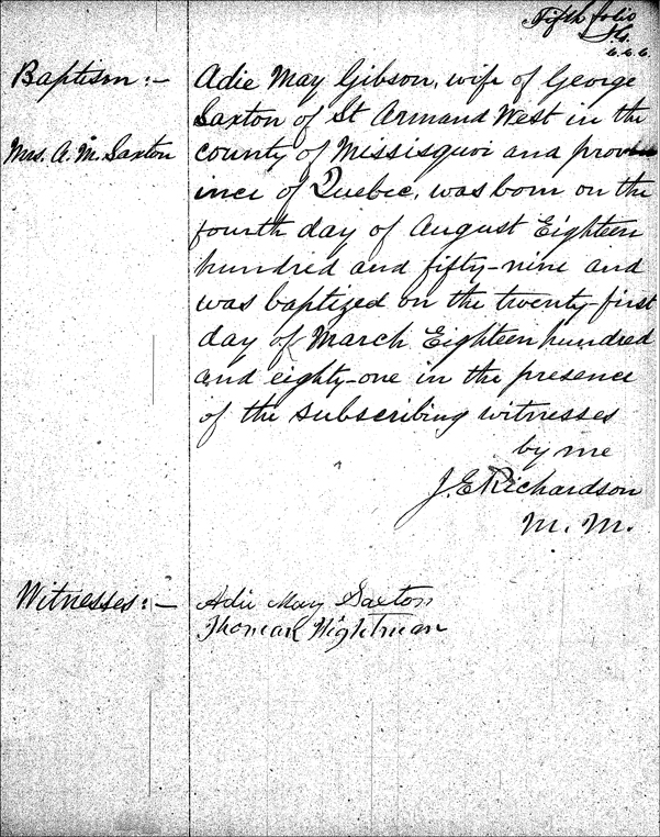The Baptismal Record for Ada May (Gibson) Saxton