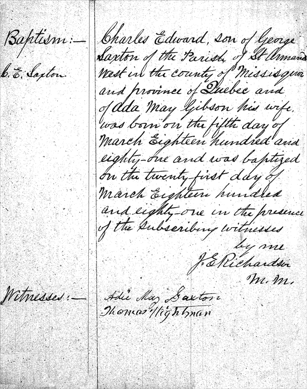 Baptismal Record for Charles Edward Saxton