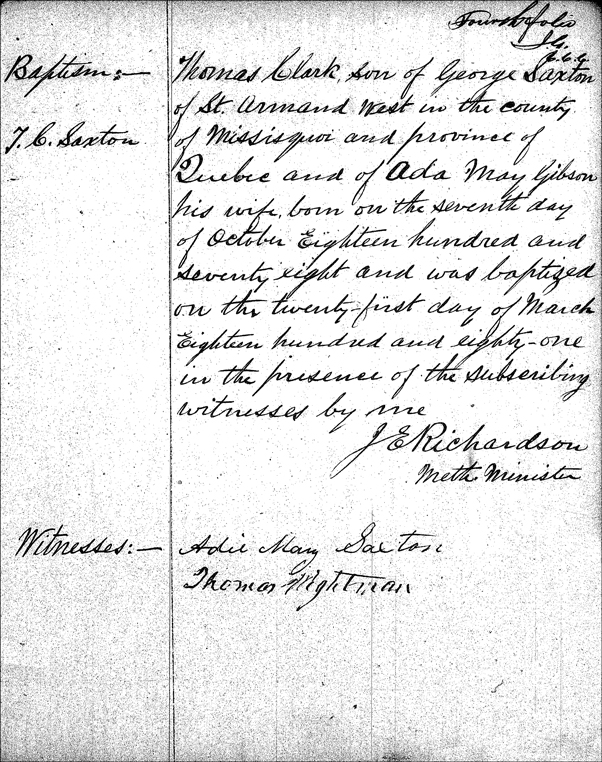 Baptismal Record for Thomas Clark Saxton