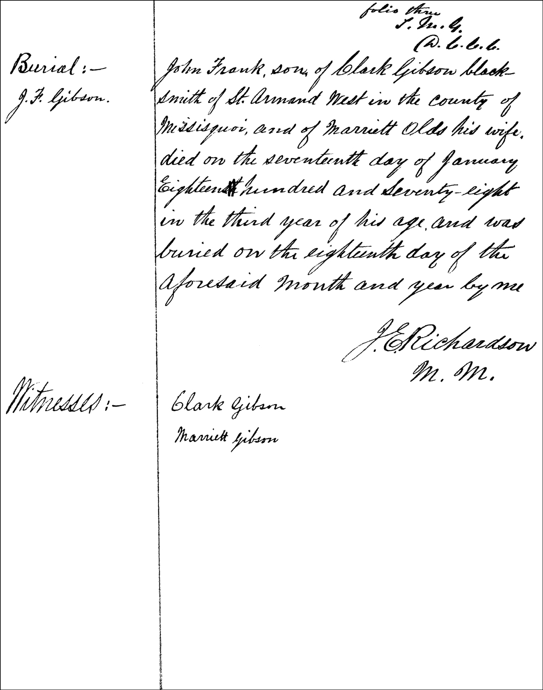 Burial Record for John Frank Gibson