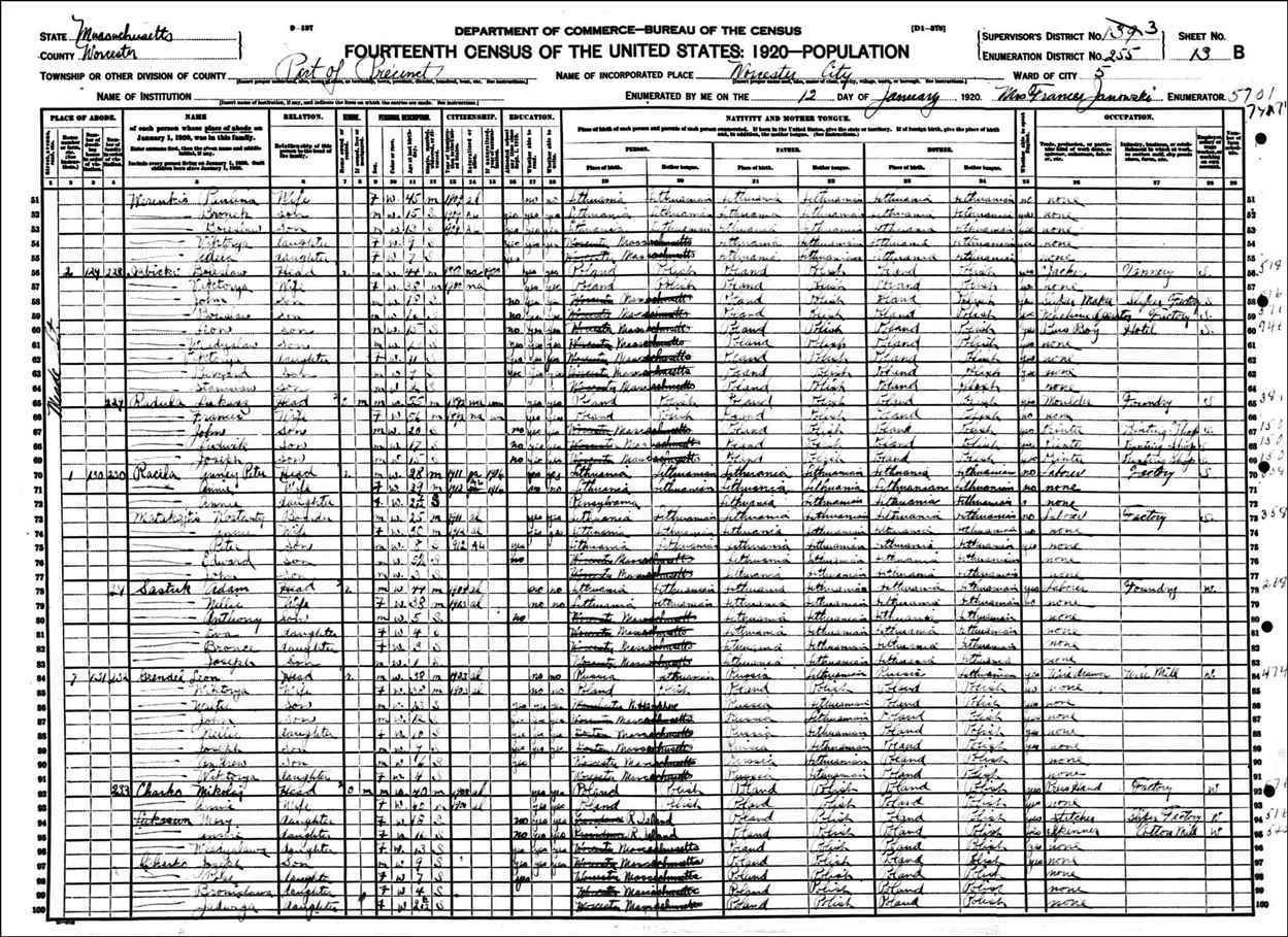 1920 US Federal Census Record for the Boleslaw Izbicki Family