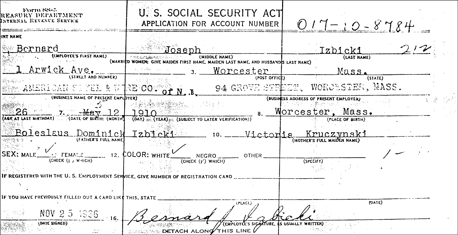 Application for Social Security Account Number for Bernard Joseph Izbicki