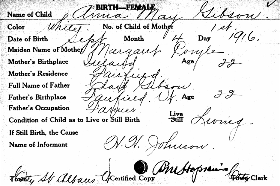 Birth Record for Anna May Gibson