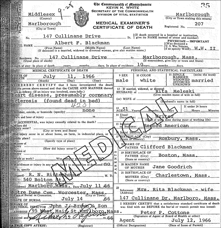 Death Record for Albert F Blackman