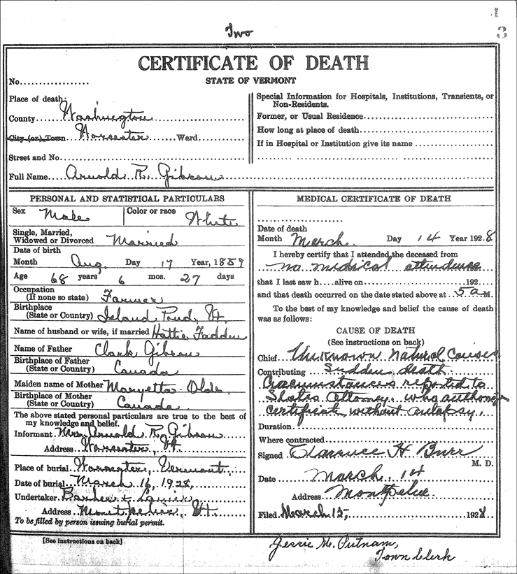 The Death Record for Arnold Gibson