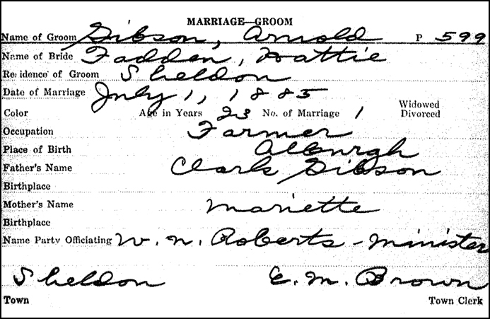Marriage Record for Arnold Gibson