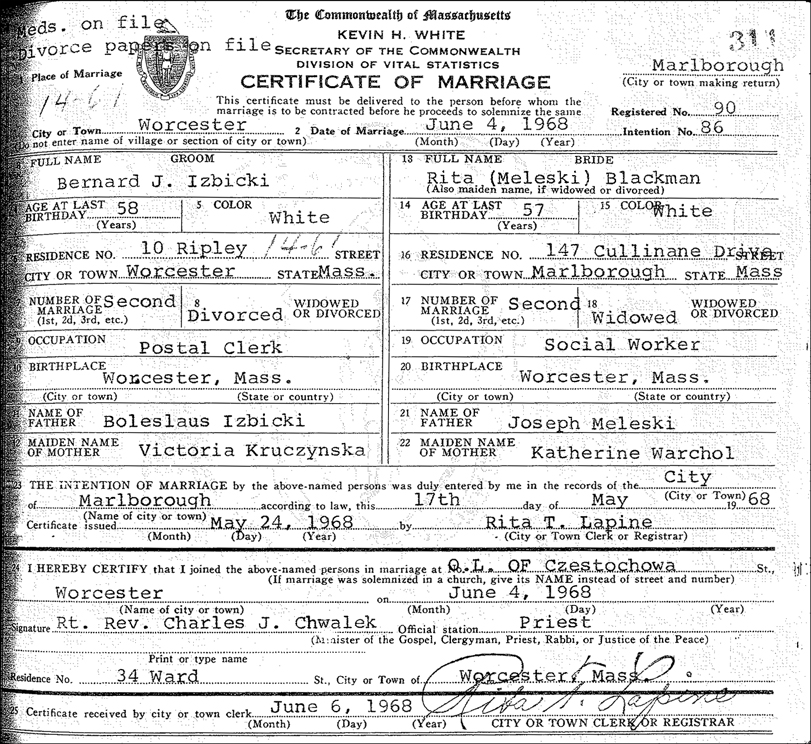 Marriage Record for Bernard Izbicki and Rita Meleski Blackman