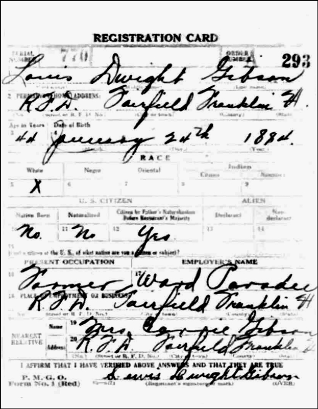 World War I Draft Registration for Lewis Dwight Gibson - Front