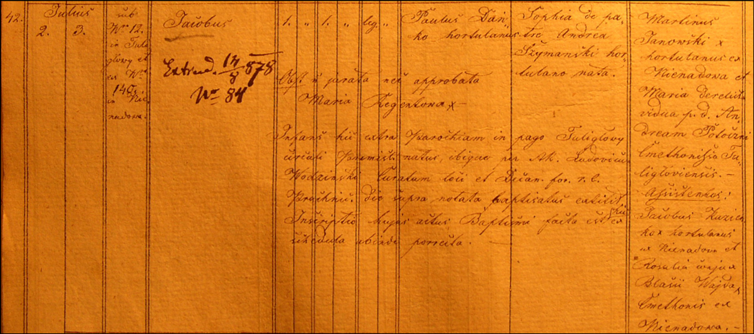 Baptismal Record for Jakub Danko