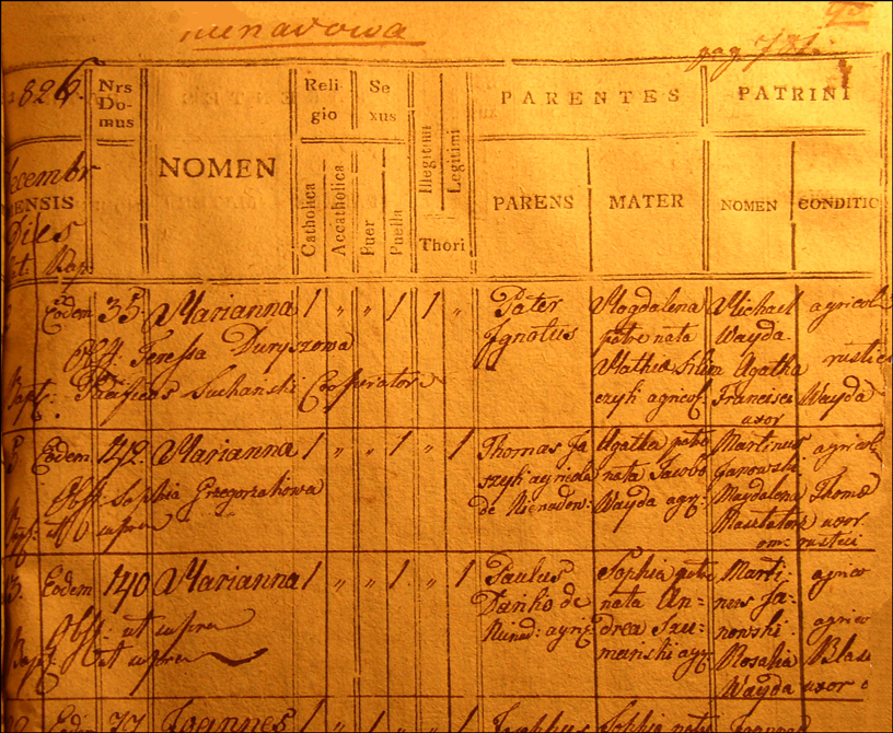 Birth and Baptismal Record for Marianna Danko