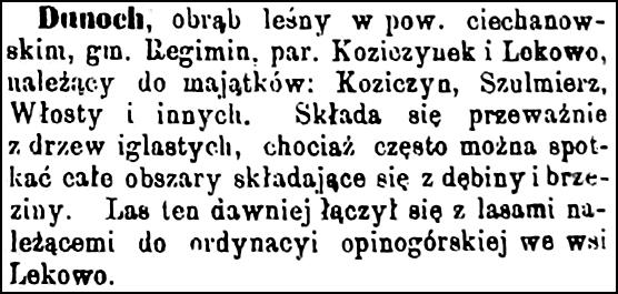 Slownik Geograficzny Entry for Dunoch