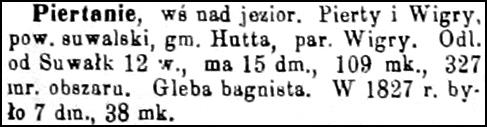 Slownik Geograficzny Entry for Piertanie
