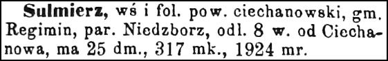 Slownik Geograficzny Entry for Sulmierz