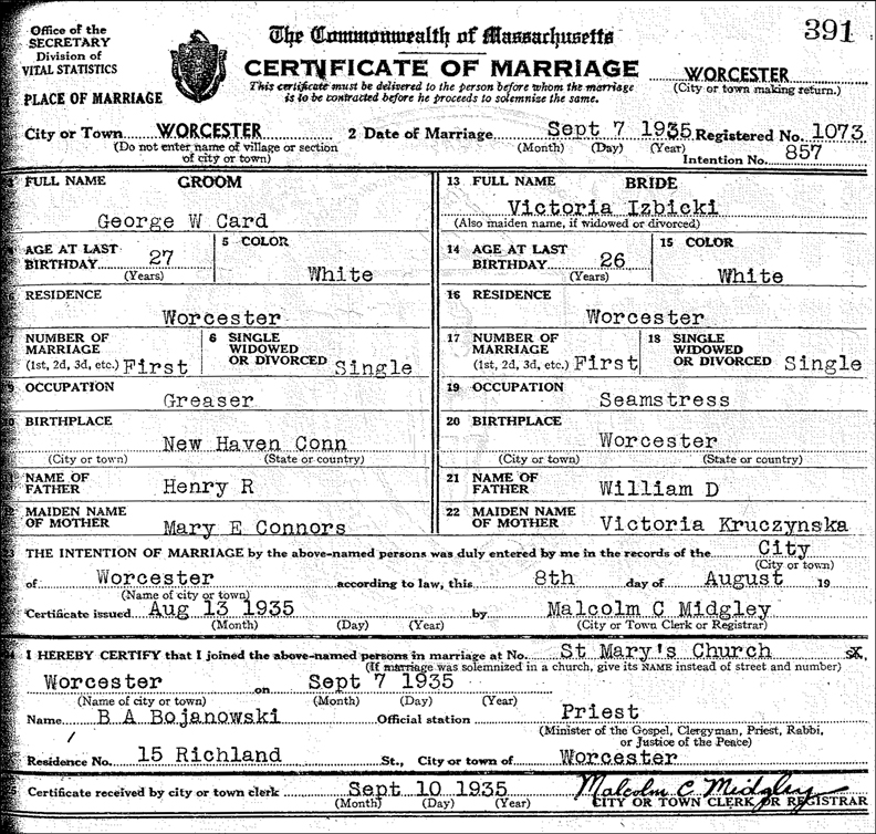 The Certificate of Marriage for George W. Card and Victoria Izbicki