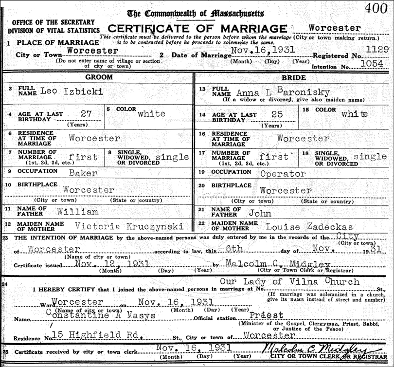 Marriage Certificate for Leo Izbicki and Anna L Baronisky
