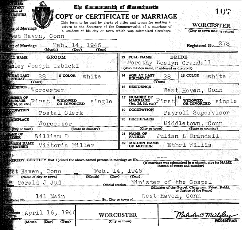 Marriage Certificate for Stanley Joseph Izbicki and Dorothy Roslyn Crandall