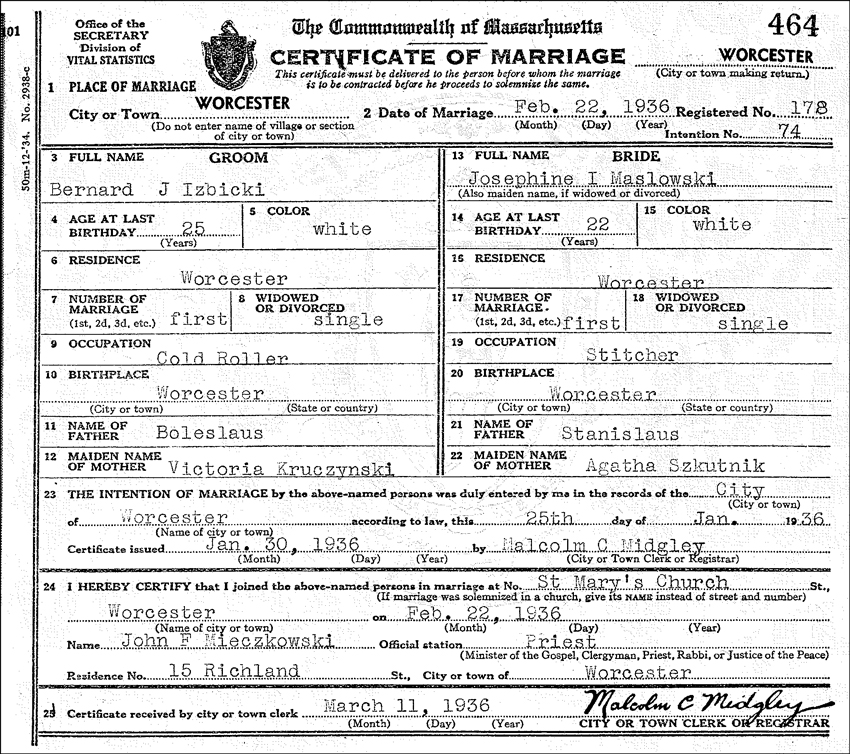 The Marriage Certificate for Bernard J Izbicki and Josephine I Maslowski