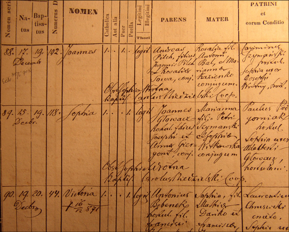 Birth and Baptismal Record for Wiktoria Bebenek