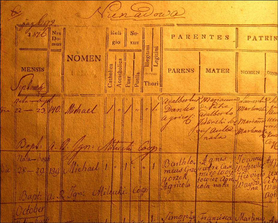 Birth and Baptismal Record of Michal Danko - 1816