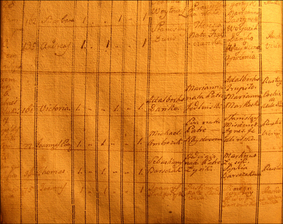 Birth and Baptismal Record for Wiktoria Danko