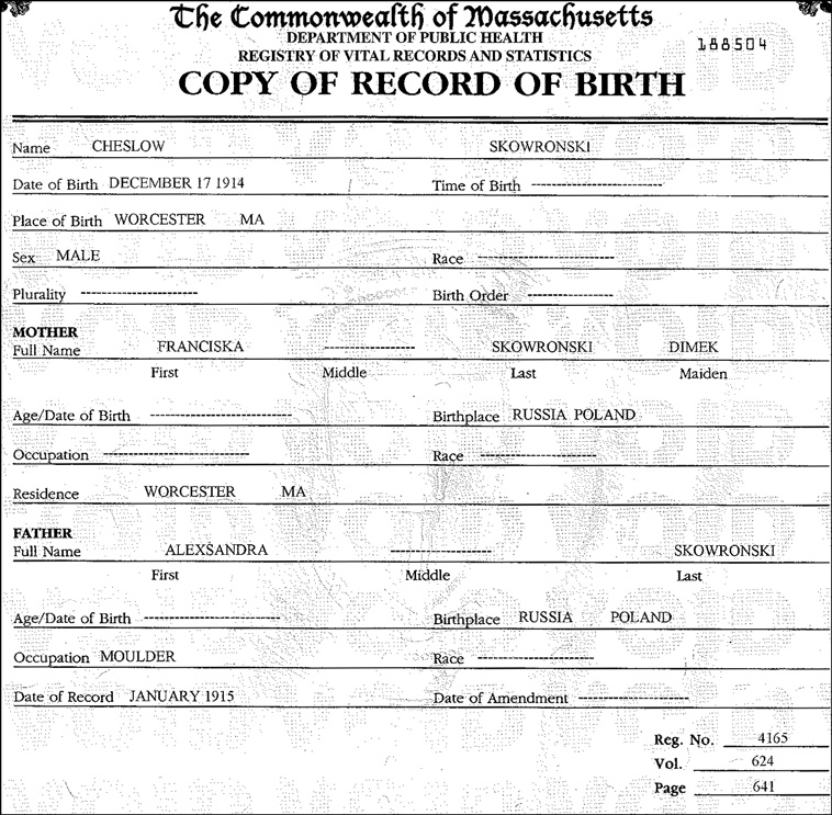 Copy of Record of Birth for Chester Skowronski