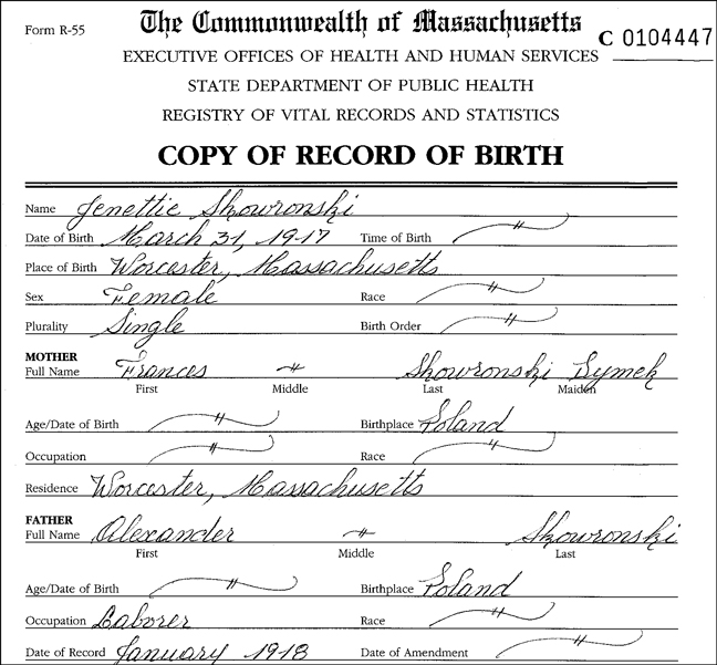 The Birth Record for Jean Skowronski