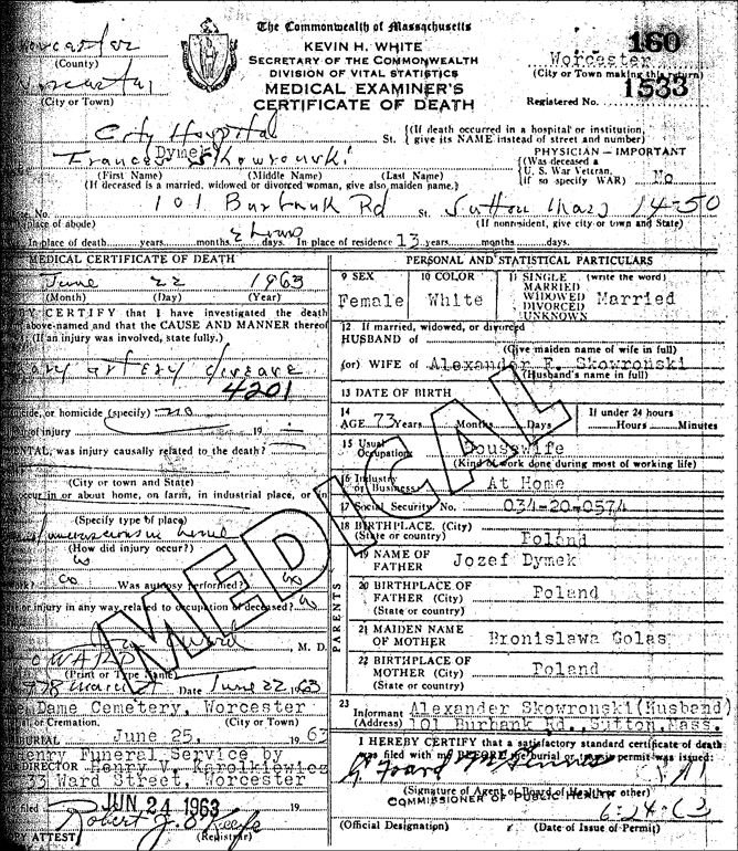 Certificate of Death for Frances Skowronski - 1963