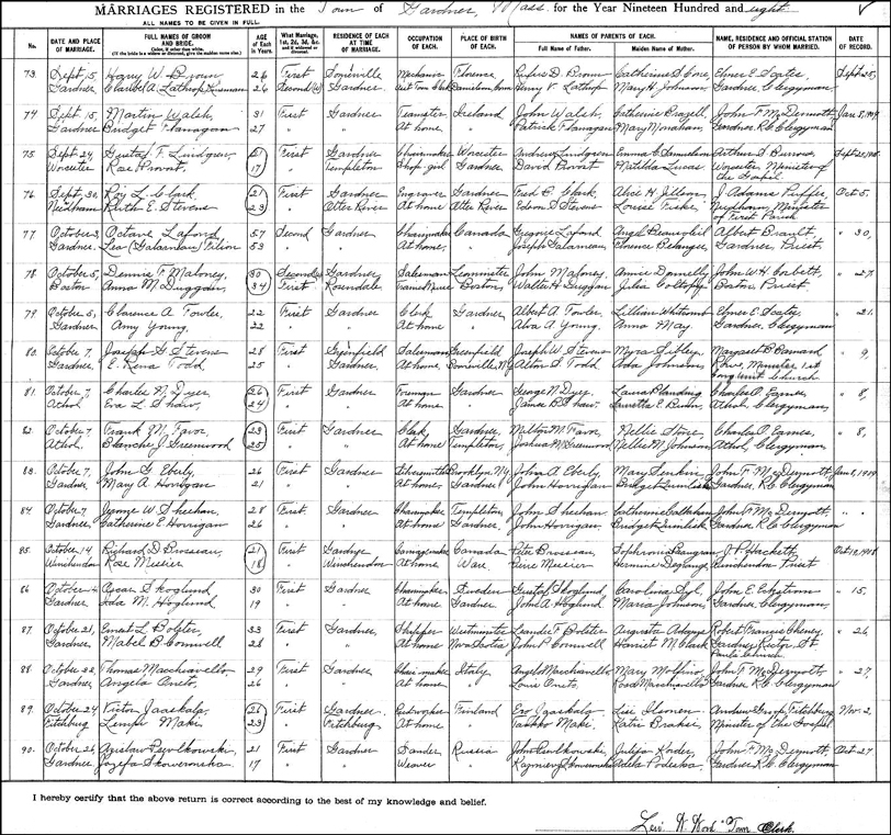 The Marriage Record for Czeslaw Pszczolkowski and Jozefa Skowronska
