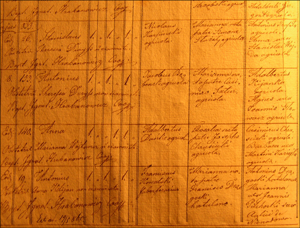 Birth and Baptismal Record of Anna Danko - 1833