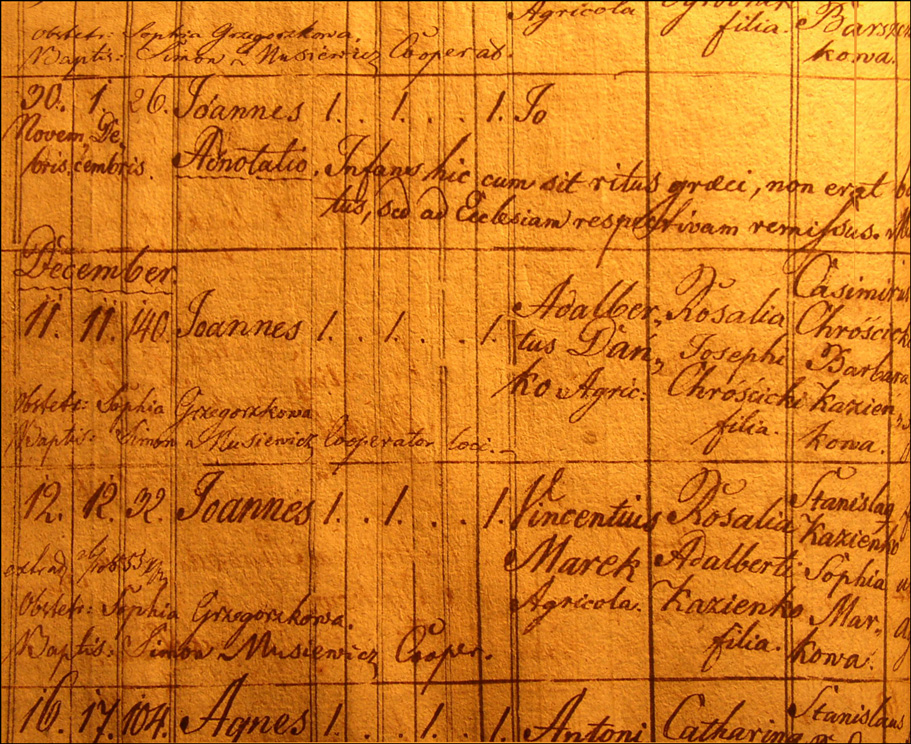 Birth and Baptismal Record of Jan Danko - 1824