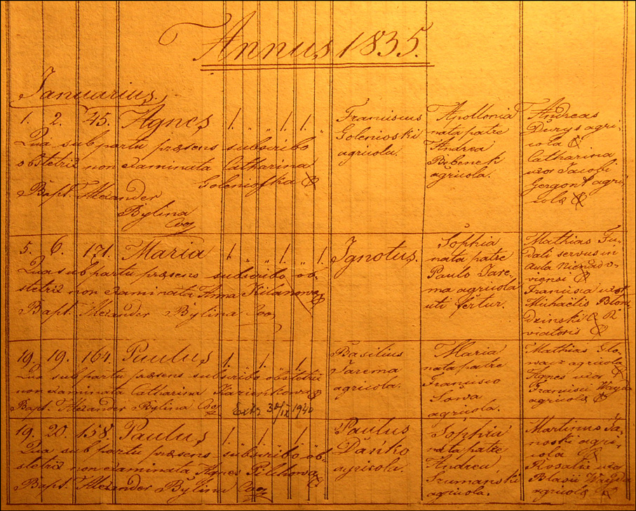 Birth and Baptismal Record of Pawel Danko - 1835