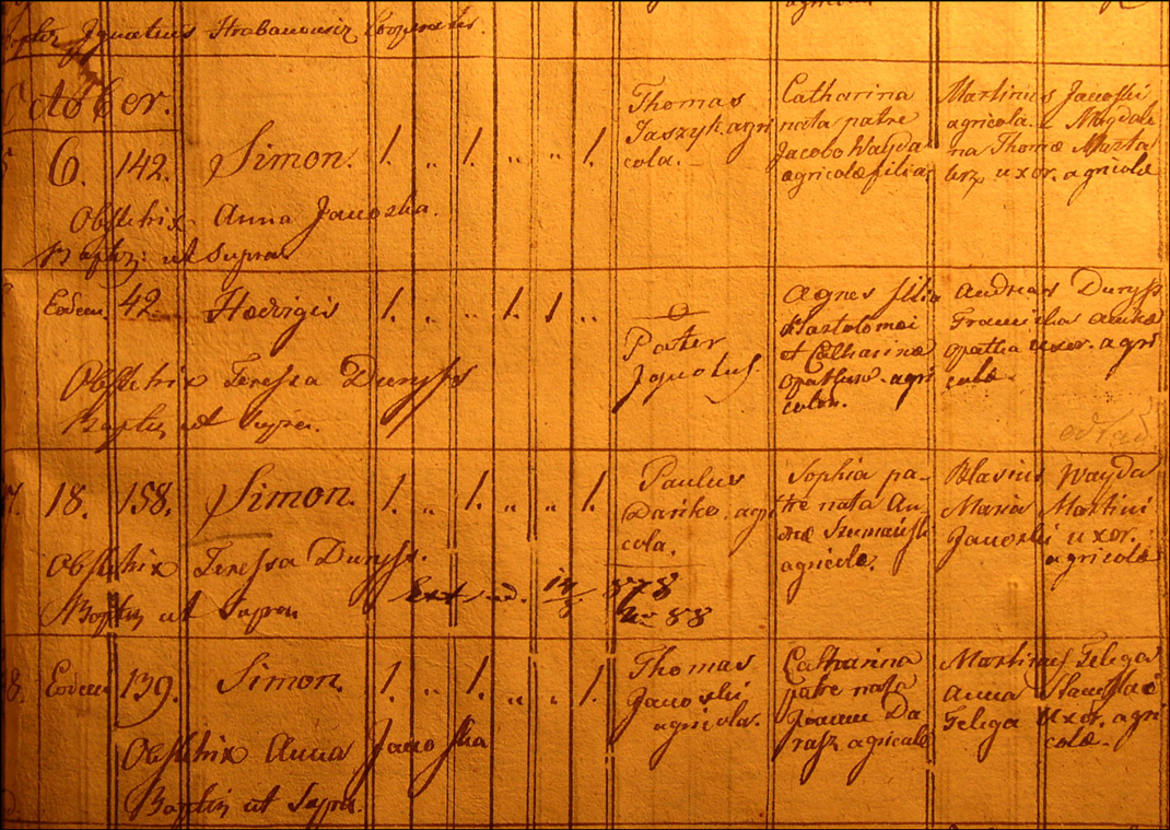 Birth and Baptismal Record of Szymon Danko