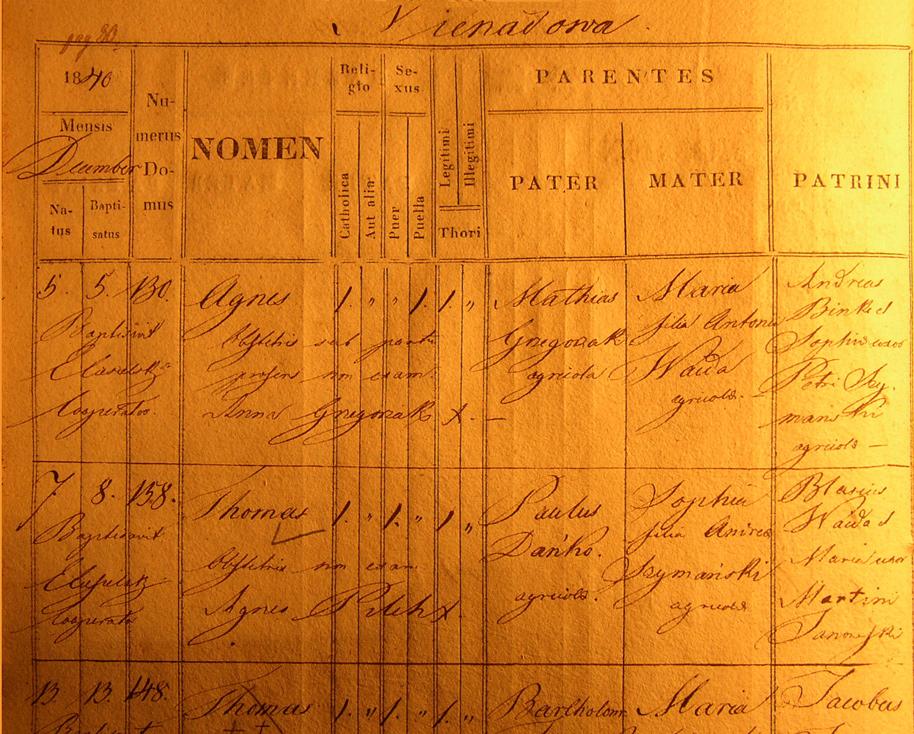 Birth and Baptismal Record of Tomasz Danko - 1840