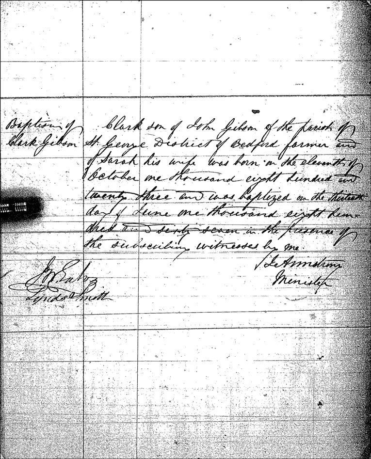 Birth and Baptismal Record of Clark Gibson - 1823 and 1867