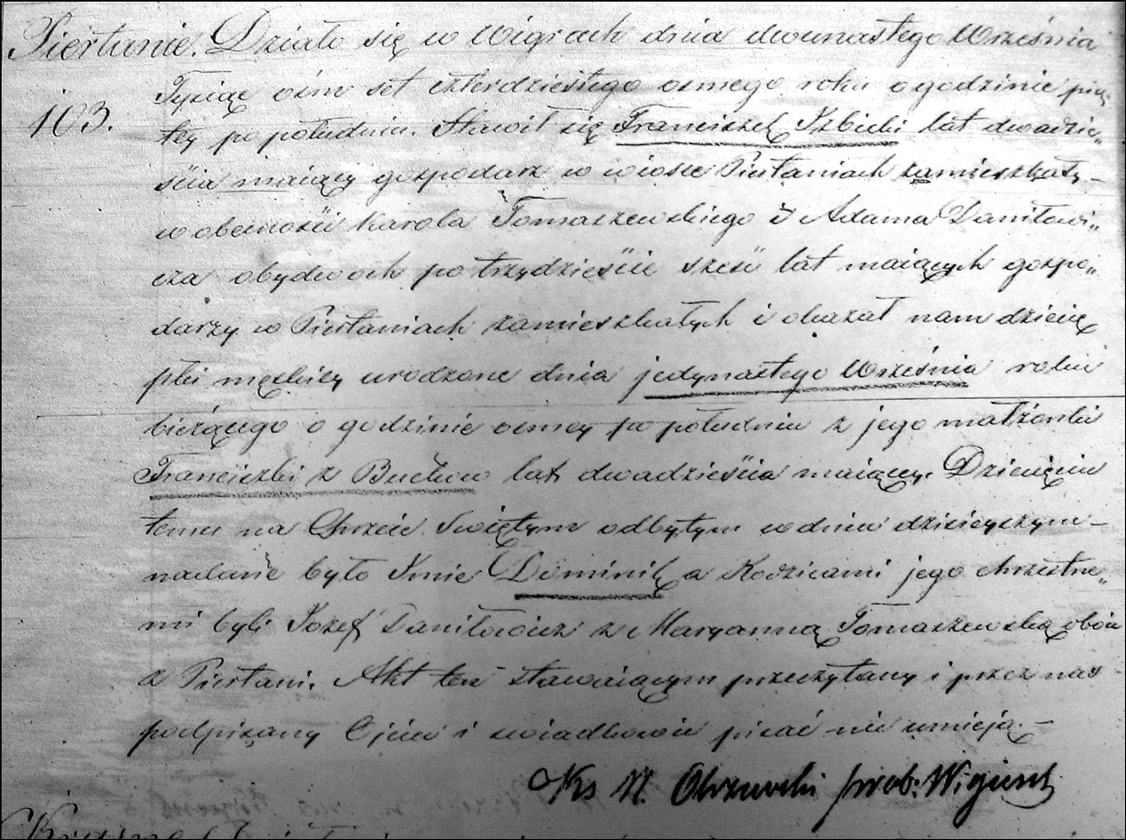 Birth and Baptismal Record of Dominik Izbicki
