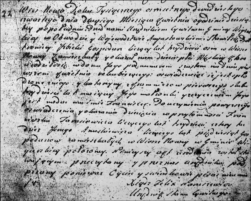 Birth and Baptismal Record for Franciszek Izbicki - 1824