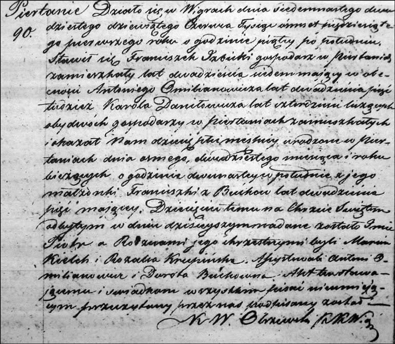 Birth and Baptismal Record of Piotr Izbicki