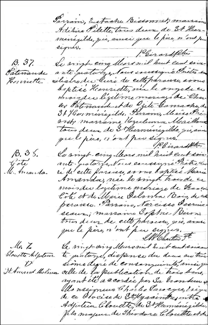 Birth and Baptismal Record of Henriette Patenaude
