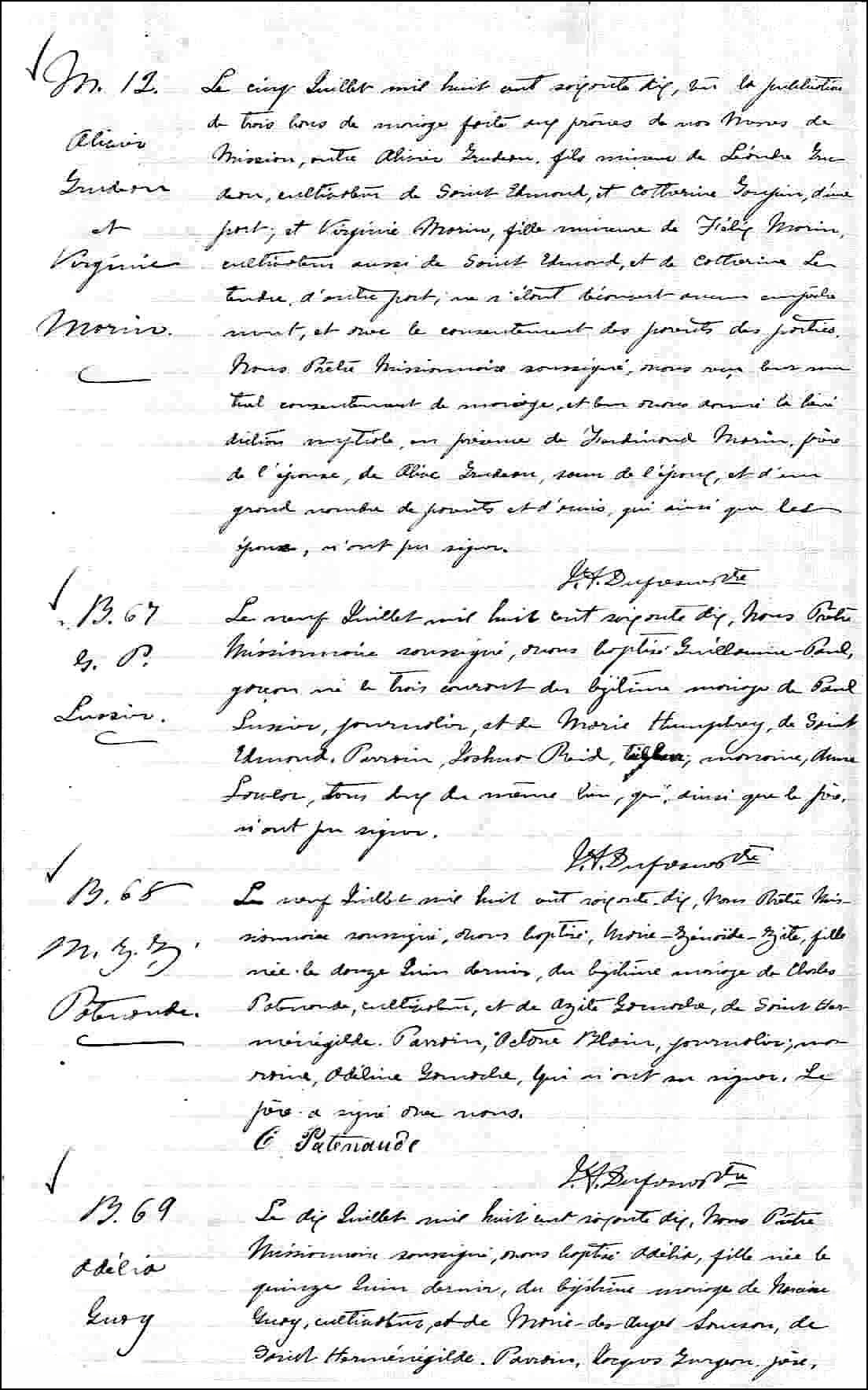 Birth and Baptismal Record of Marie-Zenaide-Zite Patenaude