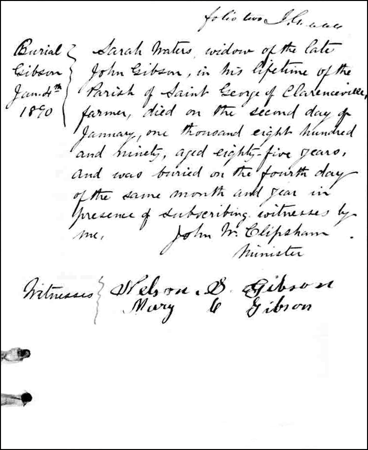 The Death and Burial Record of Sarah Waters Gibson