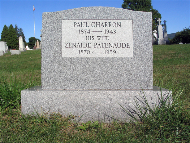 The Grave of Paul Charron and Zenaide Patenaude - Back