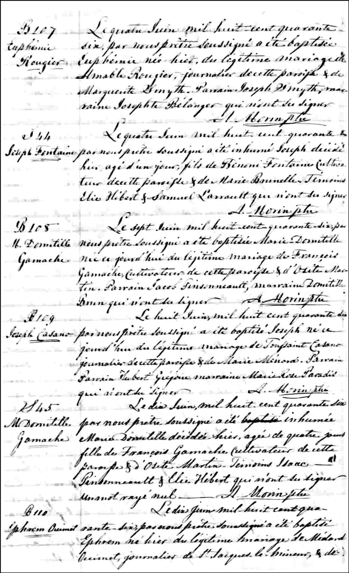 The Birth and Baptismal Record of Marie Domitille Gamache - 1846