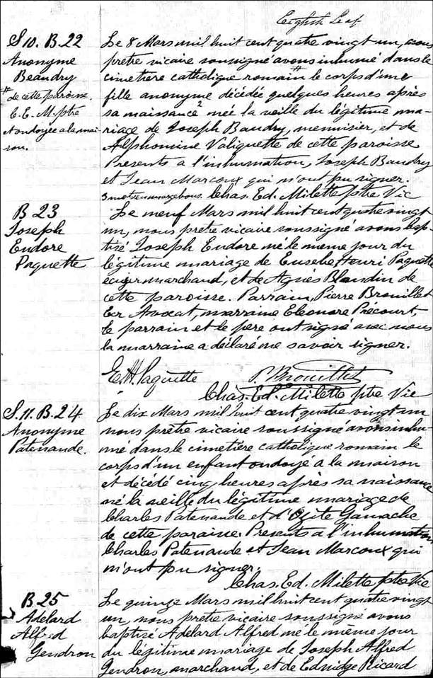 Birth Baptism and Death Record of Anonyme Patenaude