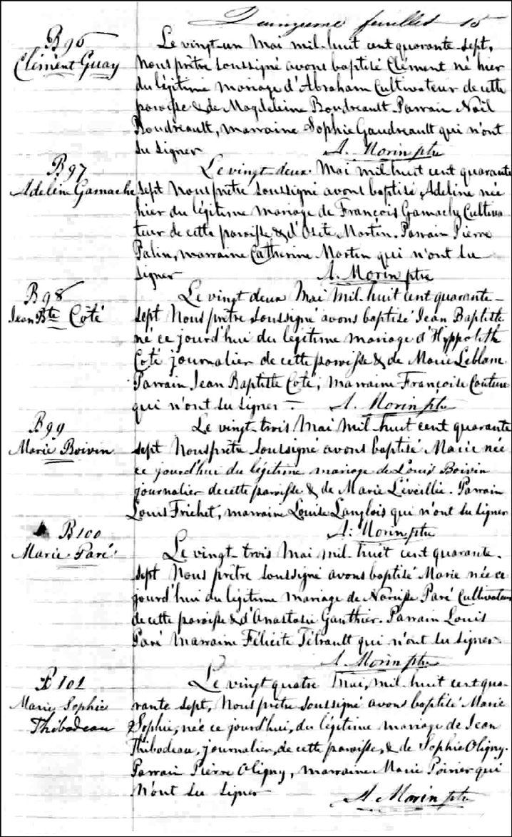 The Birth and Baptismal Record of Adeline Gamache - 1847