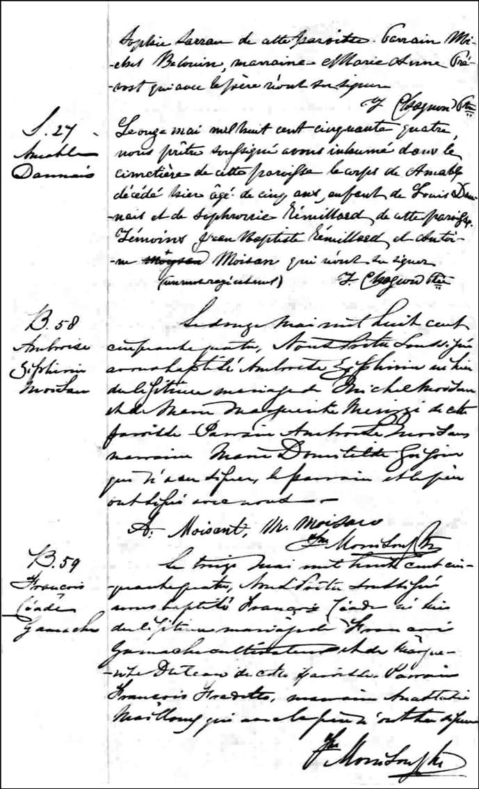 The Birth and Baptismal Record of Francois Ceade Gamache - 1854