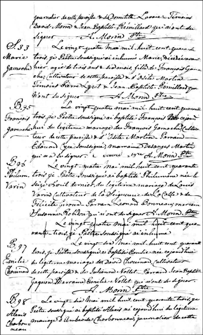 The Birth and Baptismal Record of Francois Gamache - 1843
