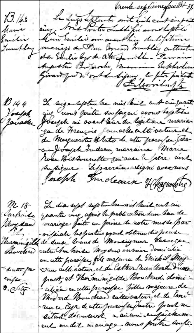 The Birth and Baptismal Record of Joseph Gamache - 1855