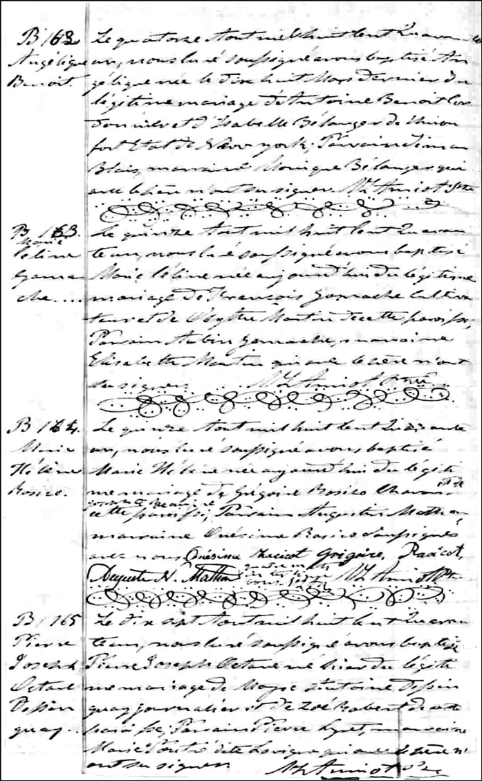 The Birth and Baptismal Record of Marie Celine Gamache - 1841